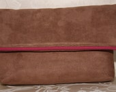 Raw Edge Fold-over Clutch in Neutral Microsuede