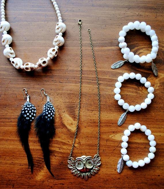 White Feather Gypsy Bracelet