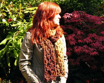 Lacy Crochet Scarf Autumn Accessories Fall Colours