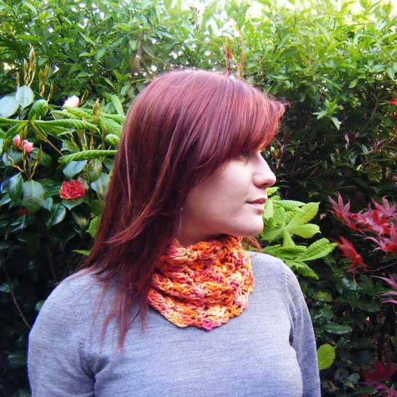 Winter Sale Crochet Cowl Fall Fashion Scarf in Variegated Orange Cotton