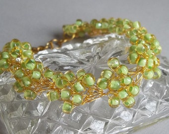 Green Lined Topaz Bracelet Glass Seed Bead, Hand Crocheted Metal Spring Summer Jewelry, Green Wedding, Country Woodland Special Occassion