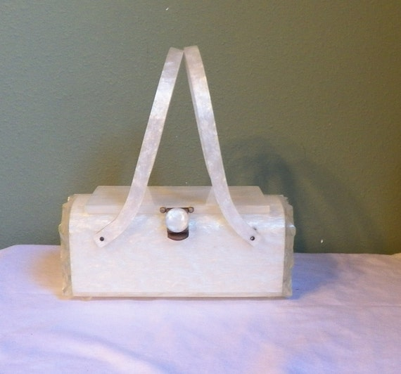 Reserved for  lovethosejewels  Lucite Rialto New York Purse Handbag Box Clear carved sides pearlized Luster Bag