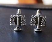 Scales of Justice Cuff Links - Legal Cufflinks - Libra Gift - Men Lawyer - WEDDING - JD Law Attorney Gifts - Bar Exam - Men's Gavel Judgment