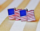 Flag Cuff Links - Gift for Veteran - USA America Cufflink - ELECTION Gifts - Patriot American Cufflinks - WEDDING Independence Freedom Gift