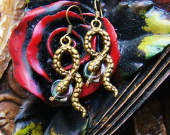 Year of the Snake - Chinese Snakes Earrings - Serpent Ear Ring Earring Jewelry - Cobra Jewellery - Women's Birthday Present Gifts