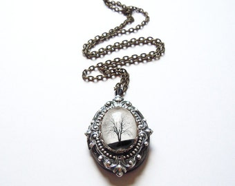 Tree locket,white,Art locket,Serenity Locket--- Mother's Day Gift.Christmas gift.silver locket.tree necklace