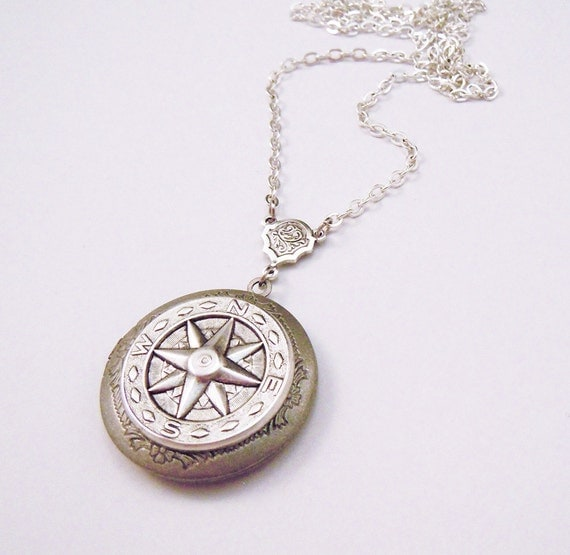 Graduation Gift.Sailor's Direction: Compass Silver Locket.Father's Day gift.graduation gift