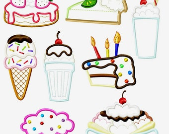 SALE!  Desserts Cupcake Milkshake and others Machine Embroidery Applique set by Cutestuff Designs INSTANT DOWNLOAD