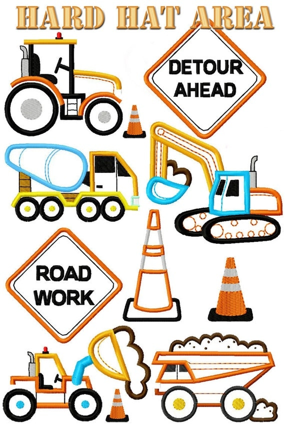Set of 9 Hard Hat Area Construction Trucks Machine Embroidery Applique Designs Instant Download