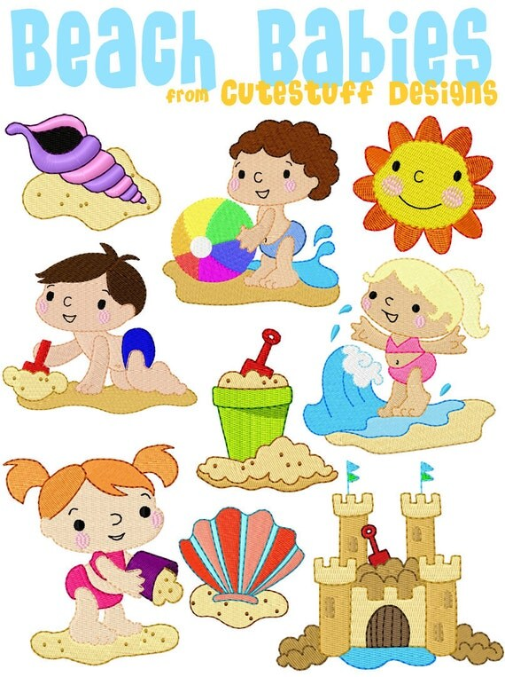 SALE!  Beach Babies Summertime Machine Embroidery set by Cutestuff Designs for kids INSTANT DOWNLOAD