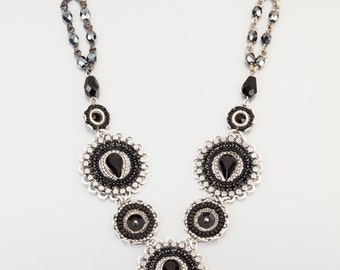 Magnificent black necklace - Silver coated brass necklace in black shades with Swarovski crystals and beads - hand-made by Adaya Jewelry