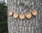 Cards Banner, Log Slice Cards, Wood Slice Cards Banner, Rustic Wedding, Rustic Cards Banner, Woodburned Cards Sign, Wedding Cards Sign