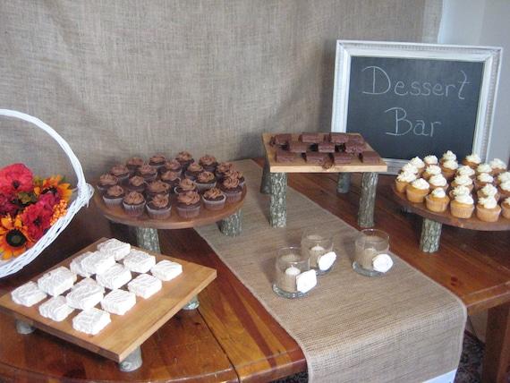 Rustic Wedding, Rustic Cake Stands, Rustic Cupcake Stands, Log Cake Stand, Wood Cake Stand, Set of 4 Stands, Cake Stand, Cupcake Stand