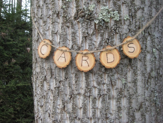 Cards Banner, Log Slice Cards, Wood Slice Cards Banner, Rustic Wedding, Rustic Cards Banner, Woodburned Cards Sign, Wedding Cards Sign