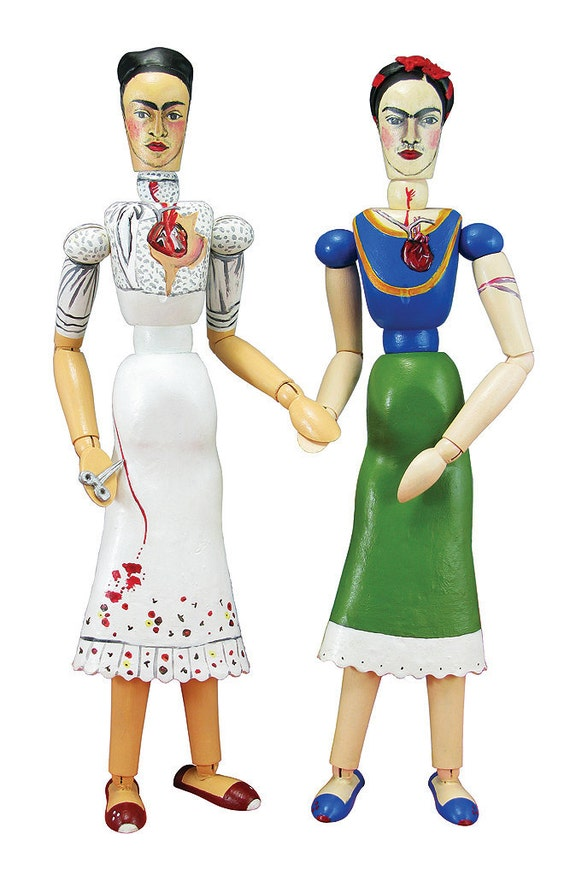The Two Fridas Art Doll - OOAK Sculpture - Articulated Wooden Figure - Original Pop Art