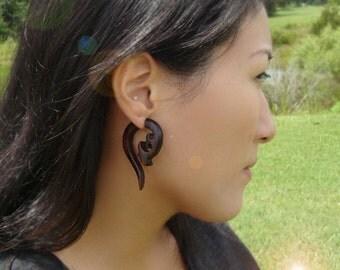 Fake Gauges Earrings Tribal Earrings - FLOURISH - Wood Organic Gauges Earrings LAST PAIR