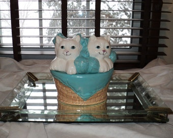 Vintage Cookie Jar of Two Kittens' Knittin with well developed Patina with an  Aqua Blue and White Color Palette of two kittens knittin'