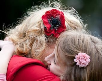 Poppy Flower Hair Clip Felted Hair Accessories Hair Fascinator Wool Hair Clips gift under 25