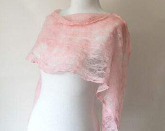 Soft Pink Felted Cobweb Shawl Scarf Wraps Shawls for all seasons