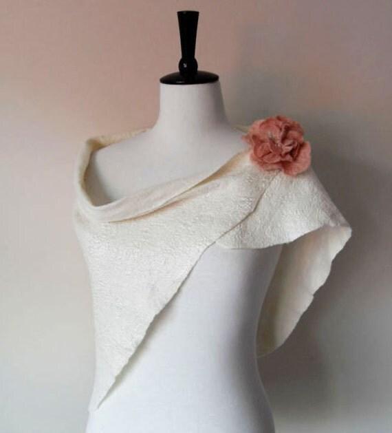 Bridal Shrugs Shawl Bridal Cover up wrap Ivory Bridal Stole Shrug Scarf Wool and Silk & brooch
