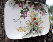 Japanese Iris and Wisteria Floral Porcelain Plate Wall Hanging Vintage Asian Chinoserie
