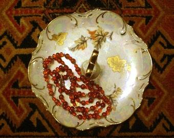 Vintage Trimont Ware Lusterware Autumn Leaf Tidbit Serving Tray JAPAN