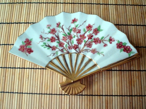 Vintage Chinoserie Plate Pink Dogwood Blossom Asian Fan Artist Signed