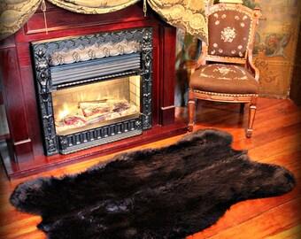 Faux Fur Black Bear Skin Area Rug - Plush Shag - Sheepskin - Accent Throw Carpet - All Colors - Sizes