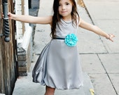 Girls Silver Bubble Dress