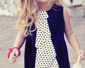 Girls  Black Jumper Dress with Polka Dot Cascading Flounce Ruffle