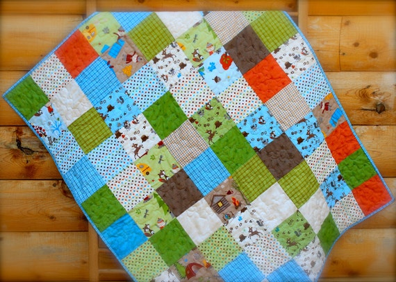 SALE - Fox Trails Patchwork Baby or Toddler Quilt FREE SHIPPING