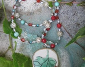 RESERVED FOR LAURA C - Chinese Pottery Piece Pendant - Long Gemstone Boho Necklace