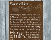 RUSTIC personalized family rules digital print