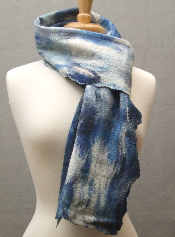 Stormy Sea Hand Dyed and Felted Wool Silk Scarf Large Shades of Brilliant Blue and Black READY TO SHIP