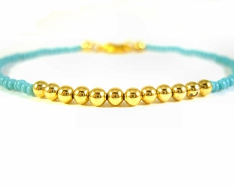 Friendship Bracelet, Turquoise Seed Beaded Bracelet, Gold Bead Bracelet, Layering Bracelet UK