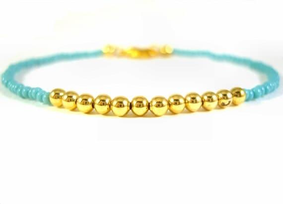 Friendship Bracelet, Turquoise Seed Beaded Bracelet, Gold Bead Bracelet, Layering Bracelet UK