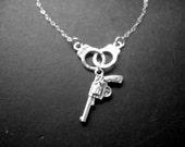 Handcuff Necklace - Handgun Necklace - Silver Necklace - Cowgirl - Cowboy - Wild West - Bridesmaids Gift - Birthday Gift