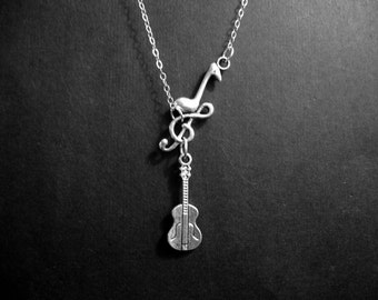 Acoustic Guitar and Music Note Charm Necklace