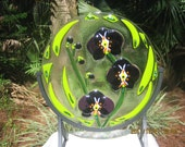 WHISPER SOFTLY - Puple Orchid fused glass stained glass sculpture of deep purple orchids & bright spring green leaves