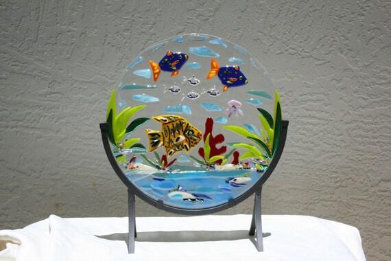 Suncatcher THE REEF -  sea decor underwater ocean scene fish and sea life.  Aquarium scene. Drivers treasure.