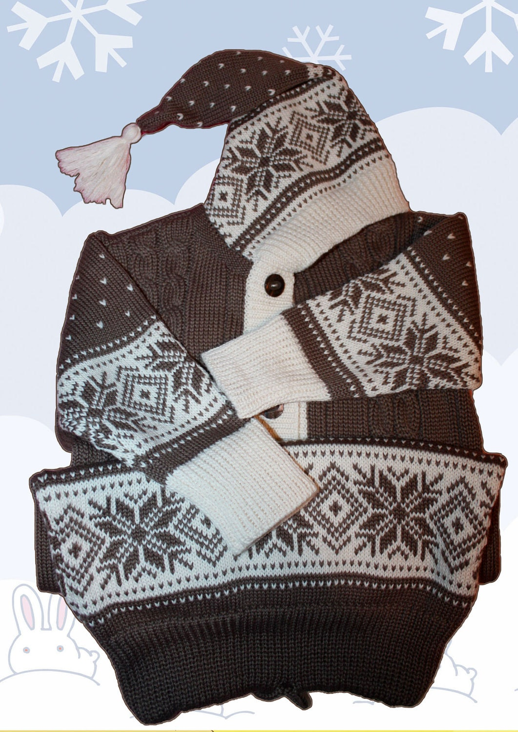 Knitted Baby Bunting Bag Pattern : 3-12 months. Fair Isle Jacquard Knitted BABY BUNTING by ...