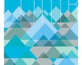 Giclee Wall Art Blue Mountain Print 8x10: Cubist Series