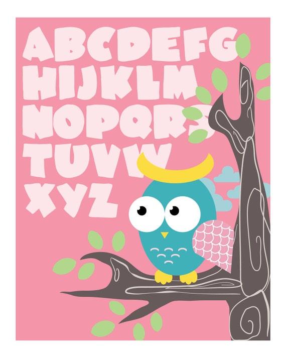 Owl ABC Children's Wall Art Print 8x10: Pink