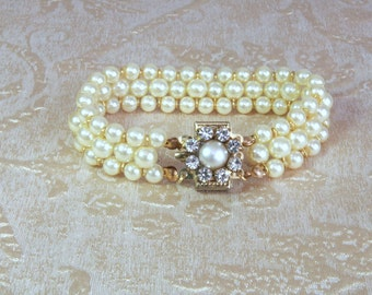 Bridal Bracelet-Wedding Jewelry Vintage Ivory Cream Beaded Pearls And Rhinestone Cuff Bracelet  With Swarovski Clear Rhinestone,1920 s Style