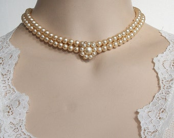 Wedding necklace Cream rose Pearls Gold Victorian Pearl Bridal Necklace Bridal Choker Champagne Ivory Vintage two Wedding Necklace Pearl