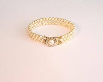 Bridal Bracelet Wedding Pearl Bracelet Vintage bridal Rhinestone Bracelet  Cuff Bracelet Victorian Multi Strand Bracelet  Rhinestone Pearls