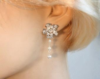 Bridal Earrings Lux Deluxe Wedding Earrings Bridal Chandelier Earrings Wedding Accessories Bridal Jewelry Pearls Crystal Earrings Drop Pearl