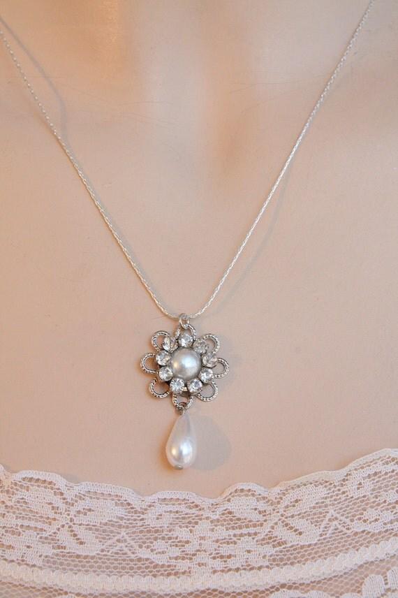 Bridal Necklace Silver Flower Rhinestone Drop Pearl Bridal Wedding Necklace Vintage Necklace Bride Crystals Bridesmaids necklace Drop Pearl