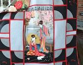 Handmade Quilt Oriental Japanese Geisha Girl Shoji Screen  Asian/Chinese Lotus Blossom Home Decor Twin Size Quilt