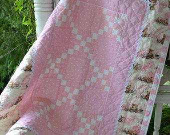 Handmade Girl Quilt Traditional Pink and White and Brown Teddy Bear Irish Chain Quilt